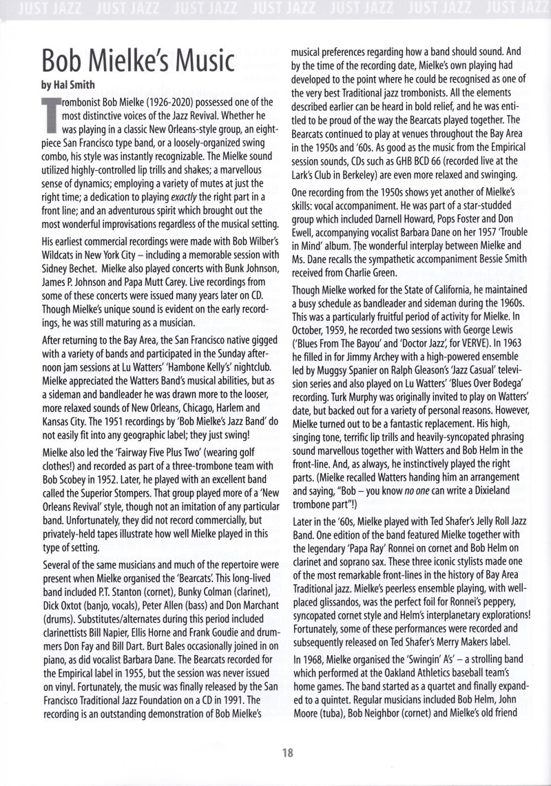 Bob Mielke's Music July 2020 JUST JAZZ p. 1