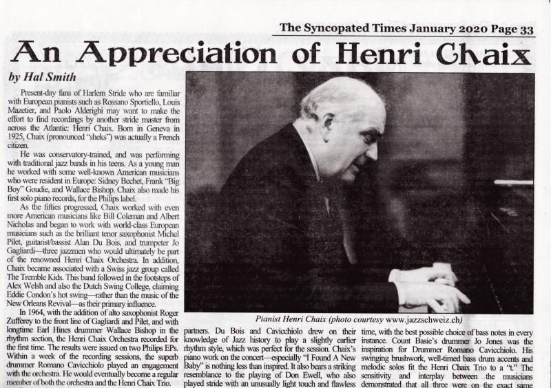 Henri Chaix article excerpt